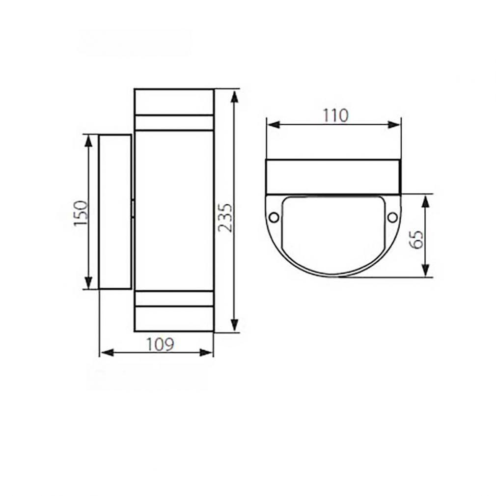 runde innen aussen Fassadenleuchte, Wandleuchte, Leuchte IP44, up/down, schwarz - 2