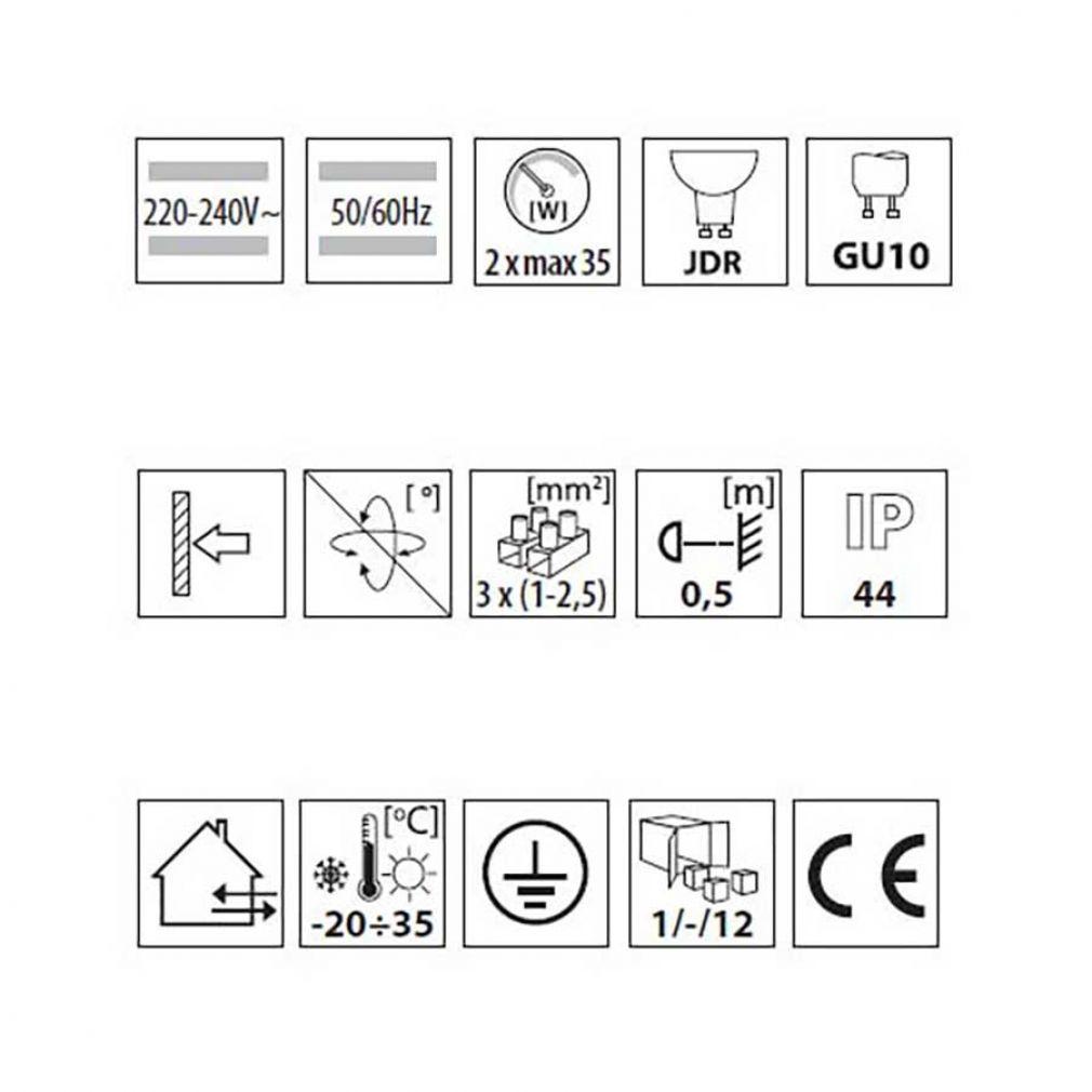 runde innen aussen Fassadenleuchte, Wandleuchte, Leuchte IP44, up/down, schwarz - 3
