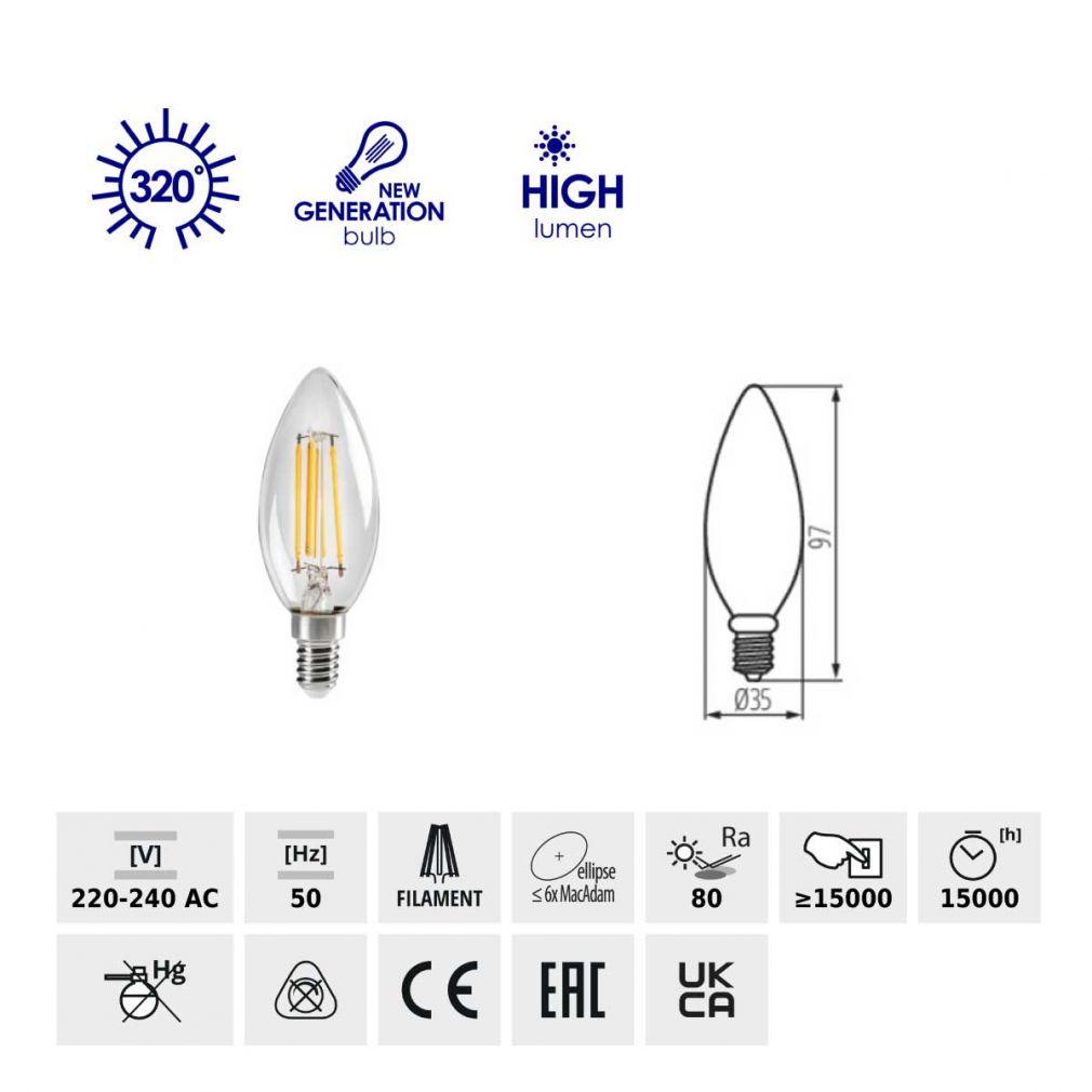2,5W LED Filament Lampe, E14  warmweiss, LED Birne LED-Lampe Kerzenform - 2