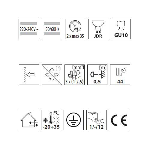 Wandleuchte mit LED Lampen 5 Watt warmweiss, Leuchte IP44, up/down, grau - 6