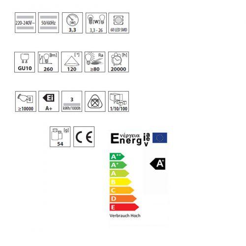 Wandleuchte mit LED Lampen 3,3Watt warmweiss, Leuchte IP44, up/down, rund, grau - 3