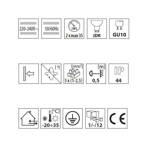 Wandleuchte mit Halogenlampen 35Watt, Leuchte IP44, up/down, rund, schwarz - 6