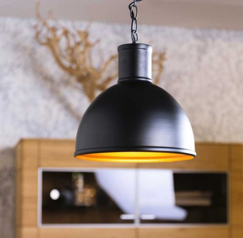 Pendelleuchte, Deckenleuchte Ø300mm, Leuchtenschirm aus Metall schwarz/goldkupfer - 3