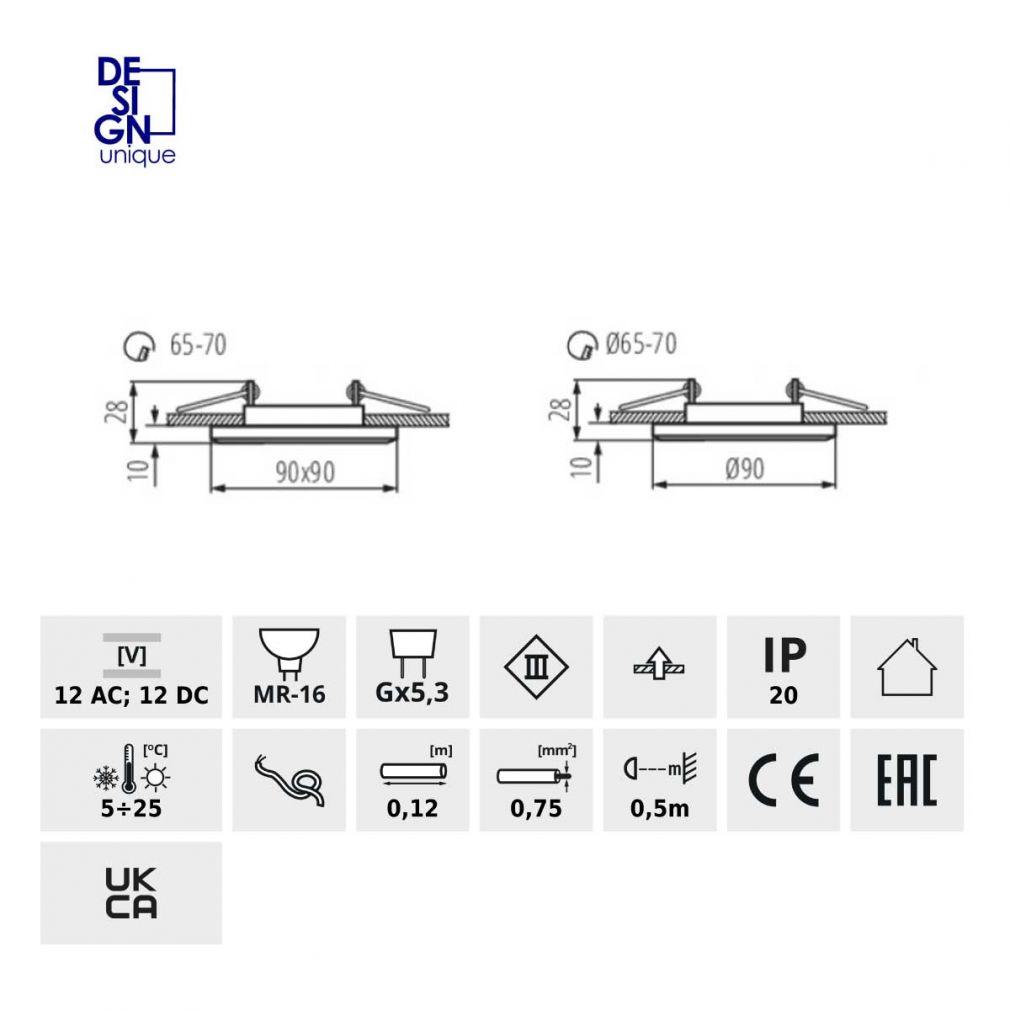 Einbaustrahler Einbauspot Glas Gx5,3 Einbauleuchte Deckeneinbauleuchte klar - 2