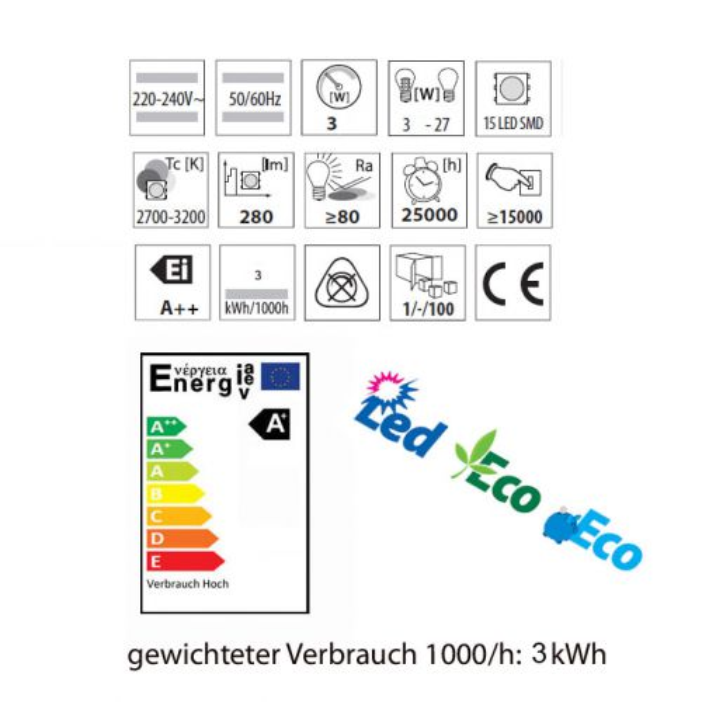 3 Watt LED Lampe, Mini Globe LED-Birne, Sockel E27, warmweiss, SMD LED - 3