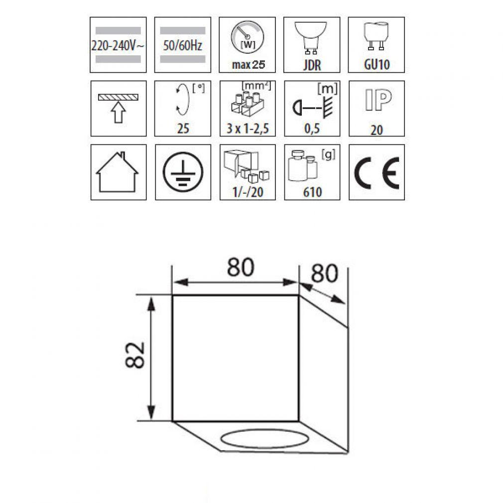deckenleuchte w rfelleuchte aufbau spot licht aluminium gu10 230v led halogen ebay. Black Bedroom Furniture Sets. Home Design Ideas