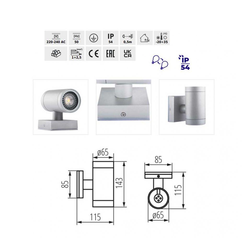 Wandleuchte, Leuchte, Lampe, Licht aussen und innen, IP54, up/down - 3