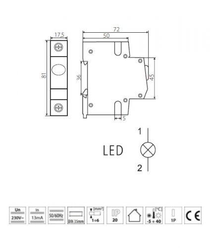 Leuchtmelder Phasenkontrolle Signalleuchte Phasenkontrollleuchte LED gelb - 5