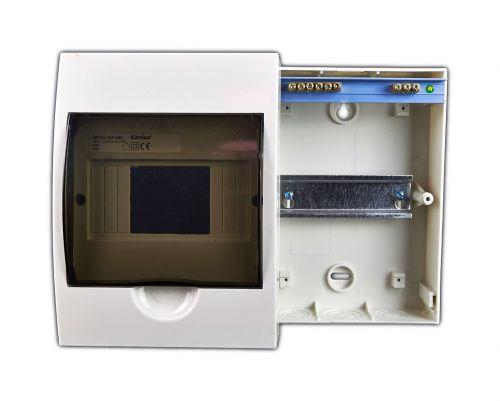 Verteiler mit DIN-Schiene Schaltschrank Verteilerschrank 6 Module 200x147x95 mm - 2