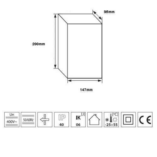 Verteiler mit DIN-Schiene Schaltschrank Verteilerschrank 6 Module 200x147x95 mm - 5