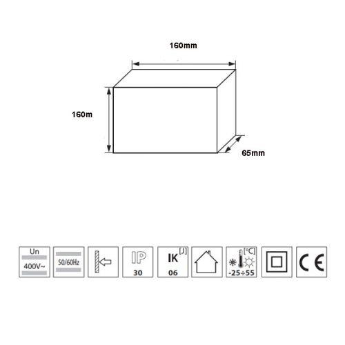 Verteiler mit DIN-Schiene Schaltschrank Schaltkasten 8 Module 160x160x65 mm - 3