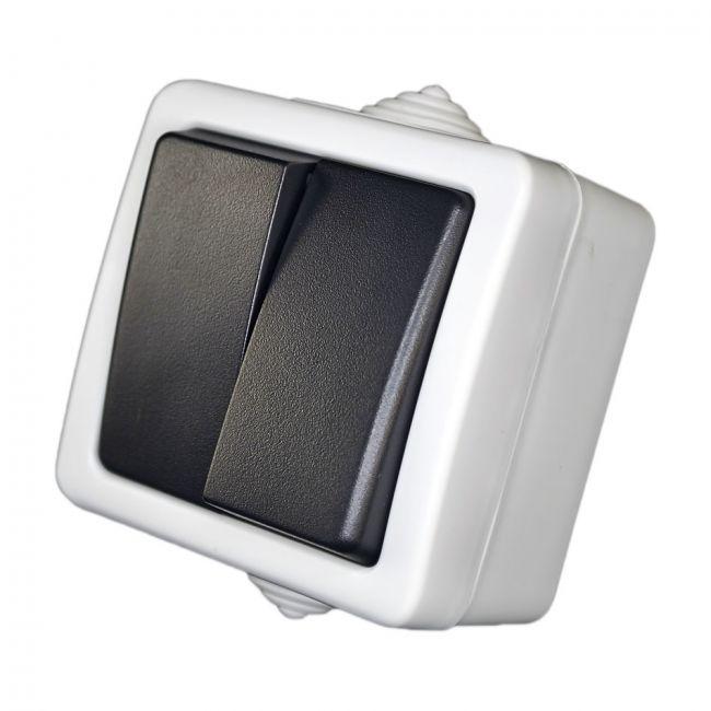 doppelschalter 2 fach schalter stromschalter lichtschalter aufputz feuchtraum ebay. Black Bedroom Furniture Sets. Home Design Ideas