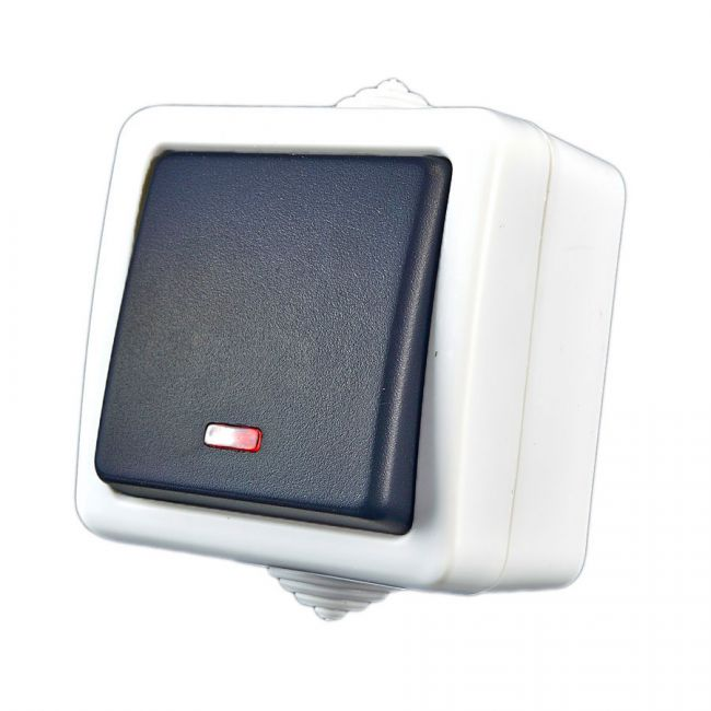 1 wege schalter treppenschalter lichtschalter aufputz feuchtraum kontrollicht ebay. Black Bedroom Furniture Sets. Home Design Ideas