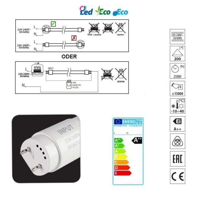 9W LED Röhre Leuchtröhre, LED Lampe Stabform 60cm 4000K neutralweiss - 3