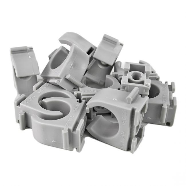 100x M20 Reihen-Klemmschelle mit M5 Langloch, Clipschelle, Rohrschelle für Kunststoffrohr - 2