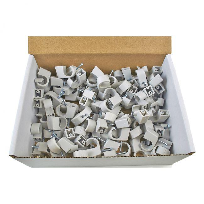 100x Nagelschelle 10-14/40mm grau, Nagelschellen, Kabelschelle - 2