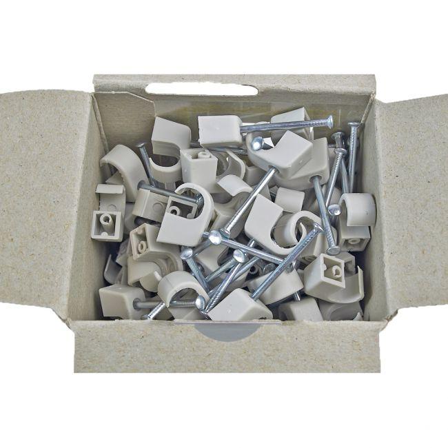 100x Nagelschelle 7-11/25mm grau, Nagelschellen, Kabelschelle - 2