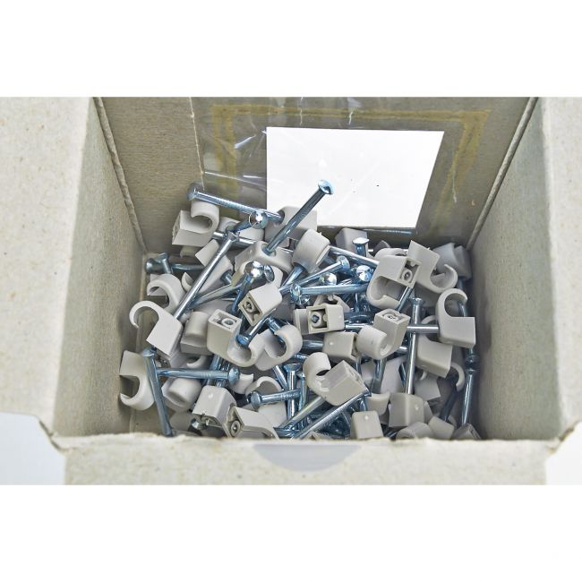 100x Nagelschelle 7-11/45mm grau, Nagelschellen, Kabelschelle - 2