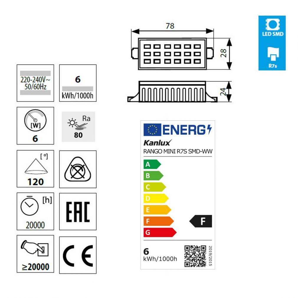 LED Lampe warmweiß für Fluter,78mm, Flutlicht, Fassung R7s - 2