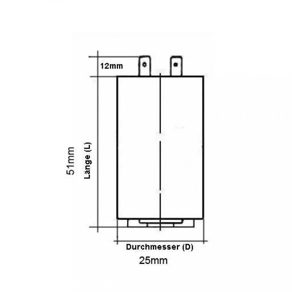 1 uF Motorkondensator Betriebskondensator 1 µF Steckanschluss Kondensator - 2