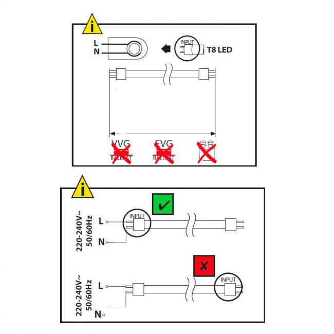 Halterung Fassung für 1x 120cm LED Röhren, LED Fassung, Leuchte für LED T8, G13 - 5