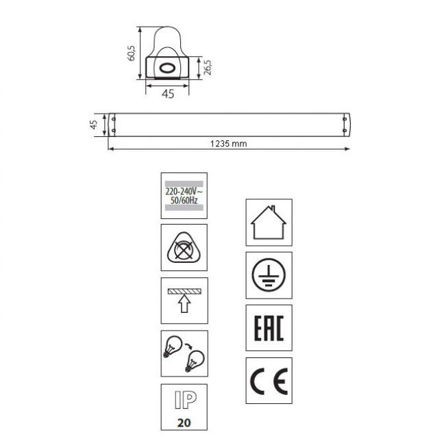 Halterung Fassung für 1x 120cm LED Röhren, LED Fassung, Leuchte für LED T8, G13 - 6