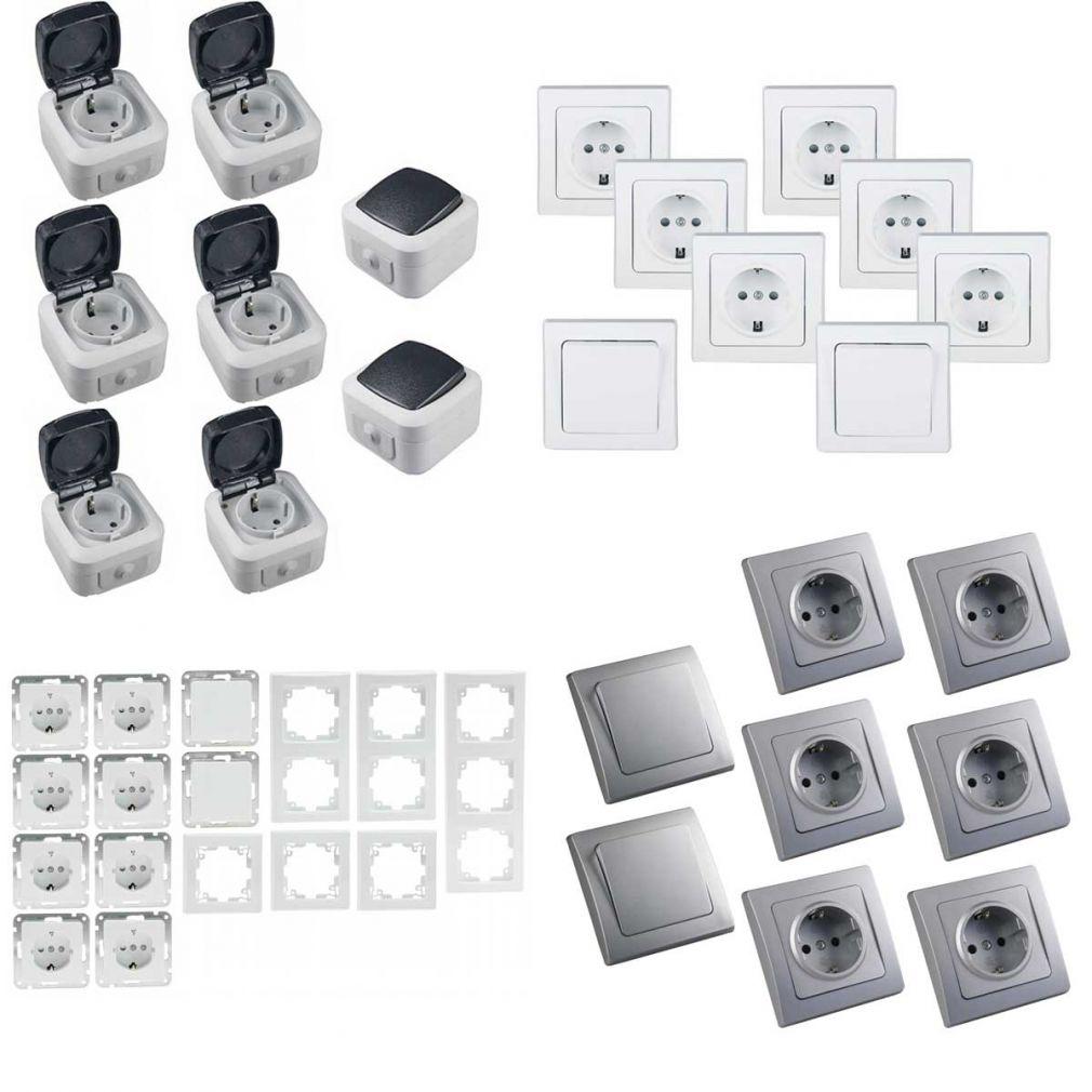 16-teiliges UP Steckdosen Starter-Kit, weiß, 8x Steckdose, 2x Schalter + versch. Rahmen - 9