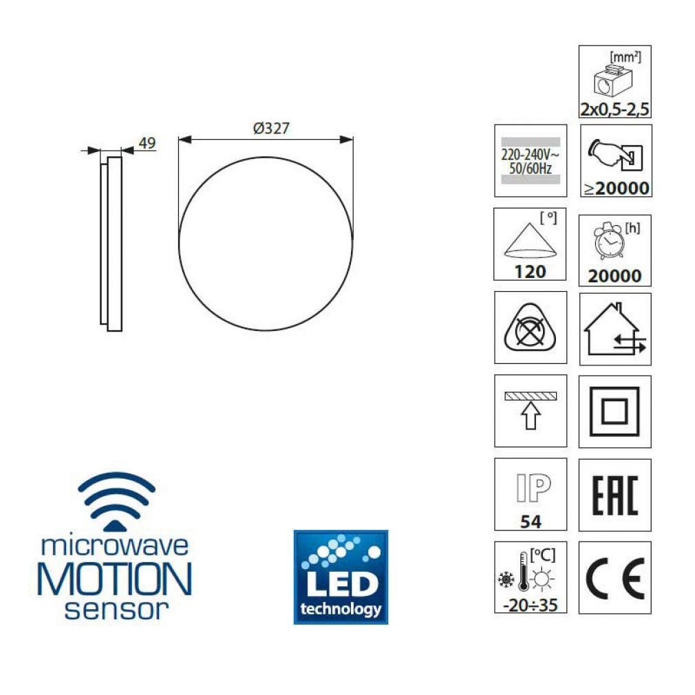 LED Deckenlampe mit Radar Bewegungsmelder Decken-Aufbauleuchte, 24W, IP54 - 4