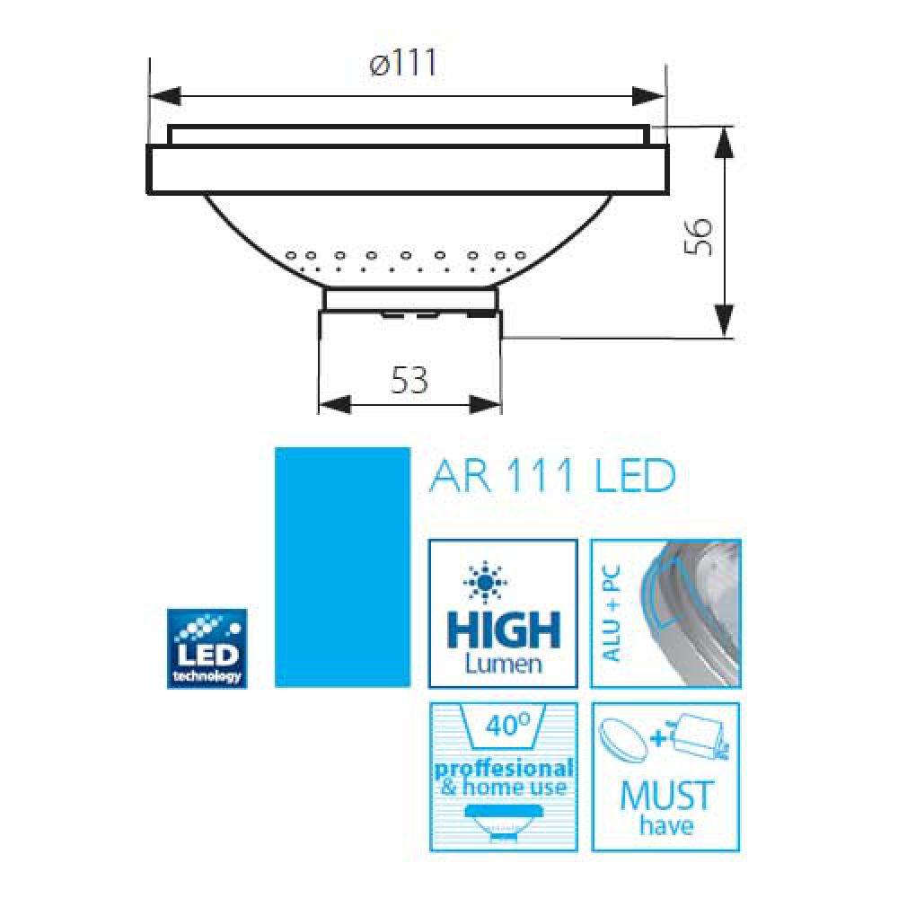 11W LED Lampe 12V AR-111, AR111 Sockel G53 warmweiss 40° silber - 3