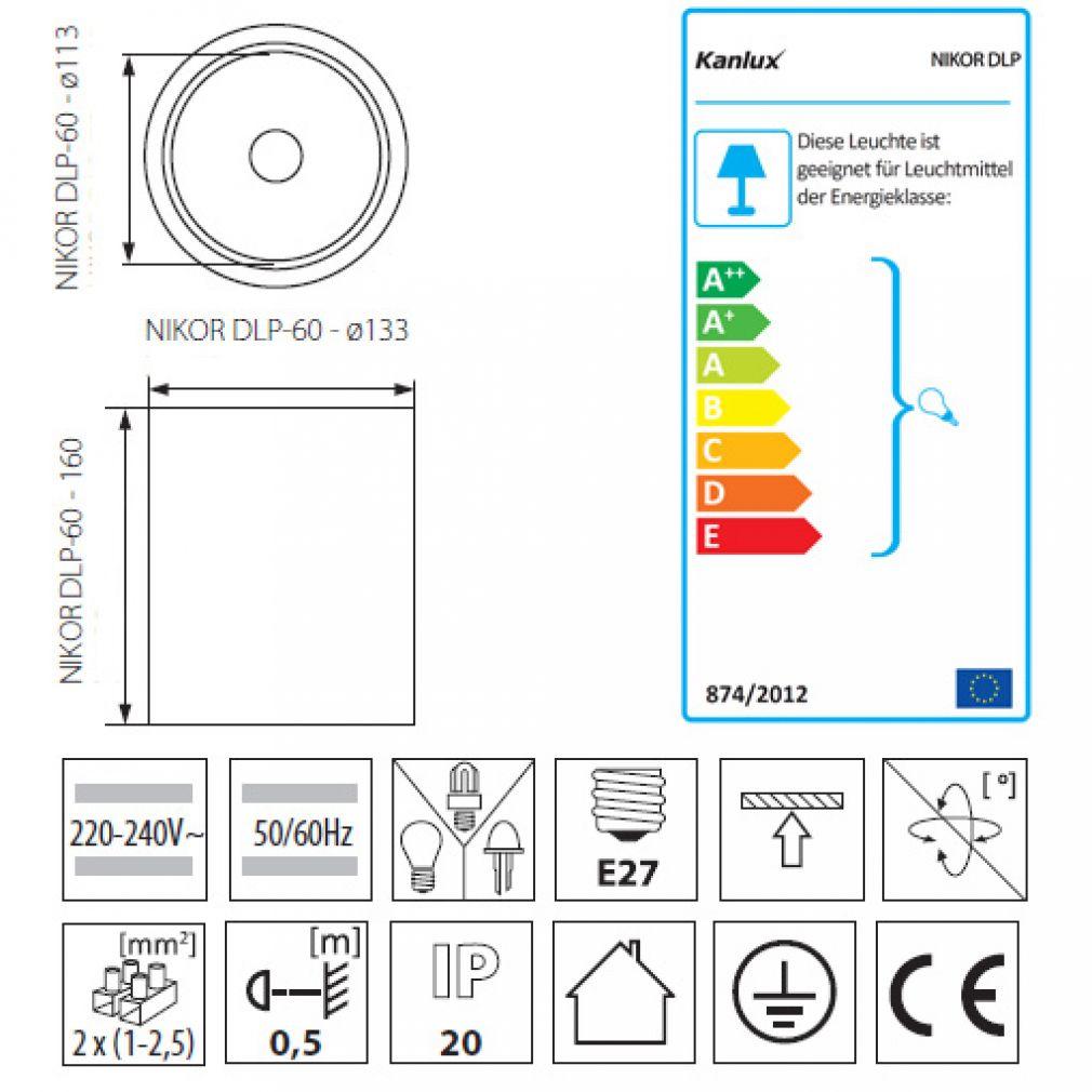 Deckenleuchte Aufbauleuchte, Deckenaufbauleuchte Deckenaufbaulampe weiß E27 - 2