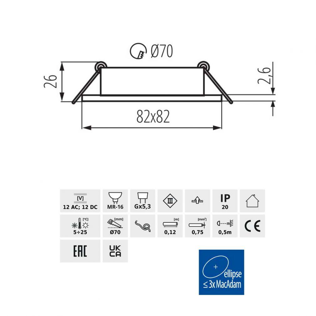 Deckeneinbaustrahler quadratisch weiss, für LED / Halogenlampen Sockel GX5.3 - 2