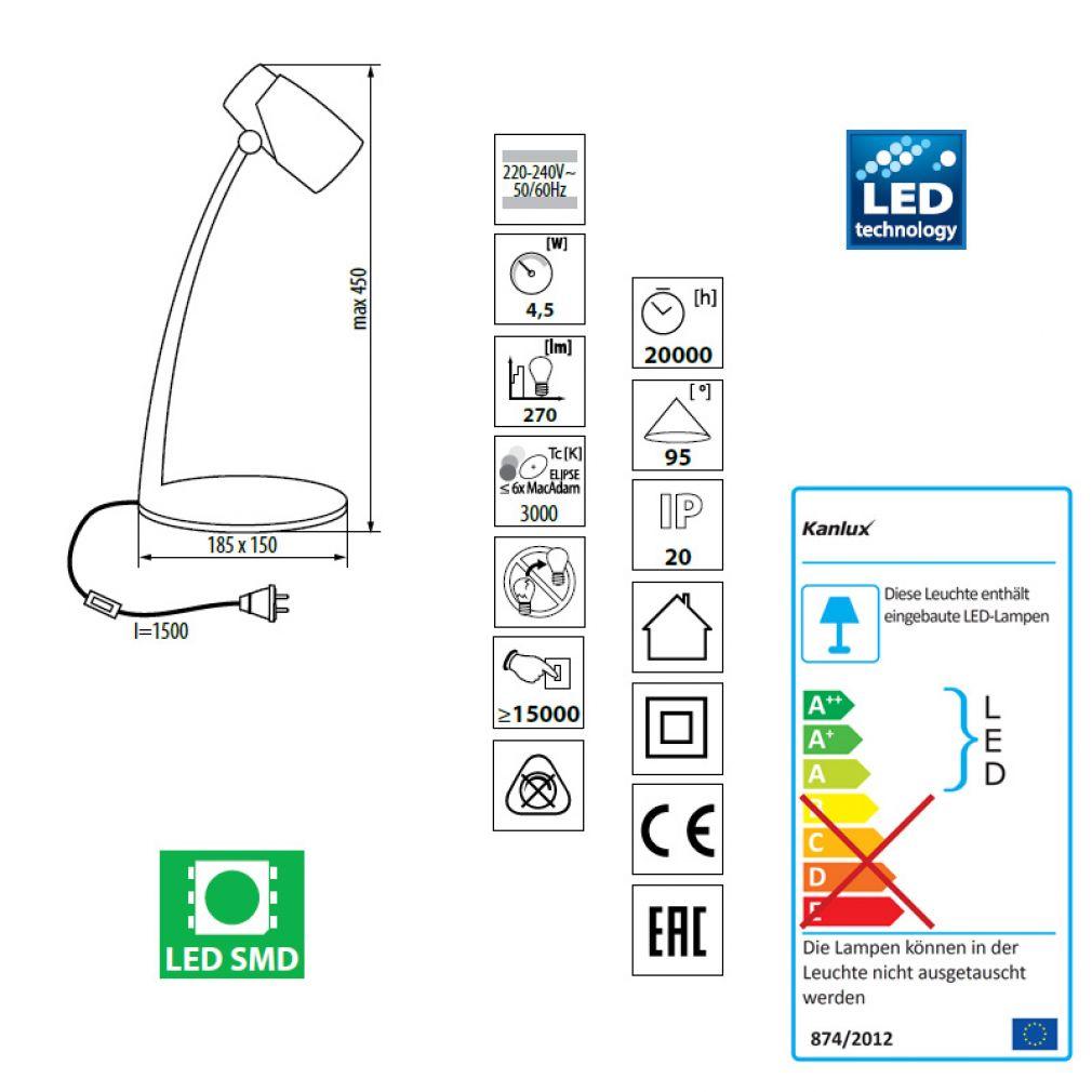 LED Schreibtischleuchte, Schreibtischlampe silber/weiß - 5