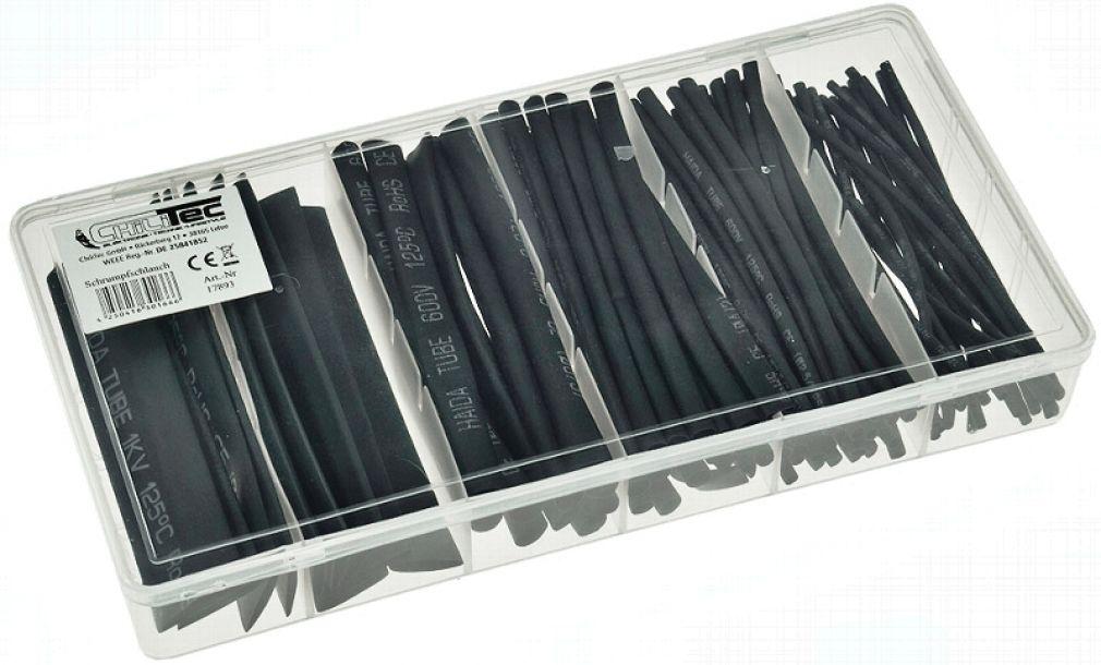 Schrumpfschlauch-Sortiment, 100-teilig in praktischer Box, schwarz - 2