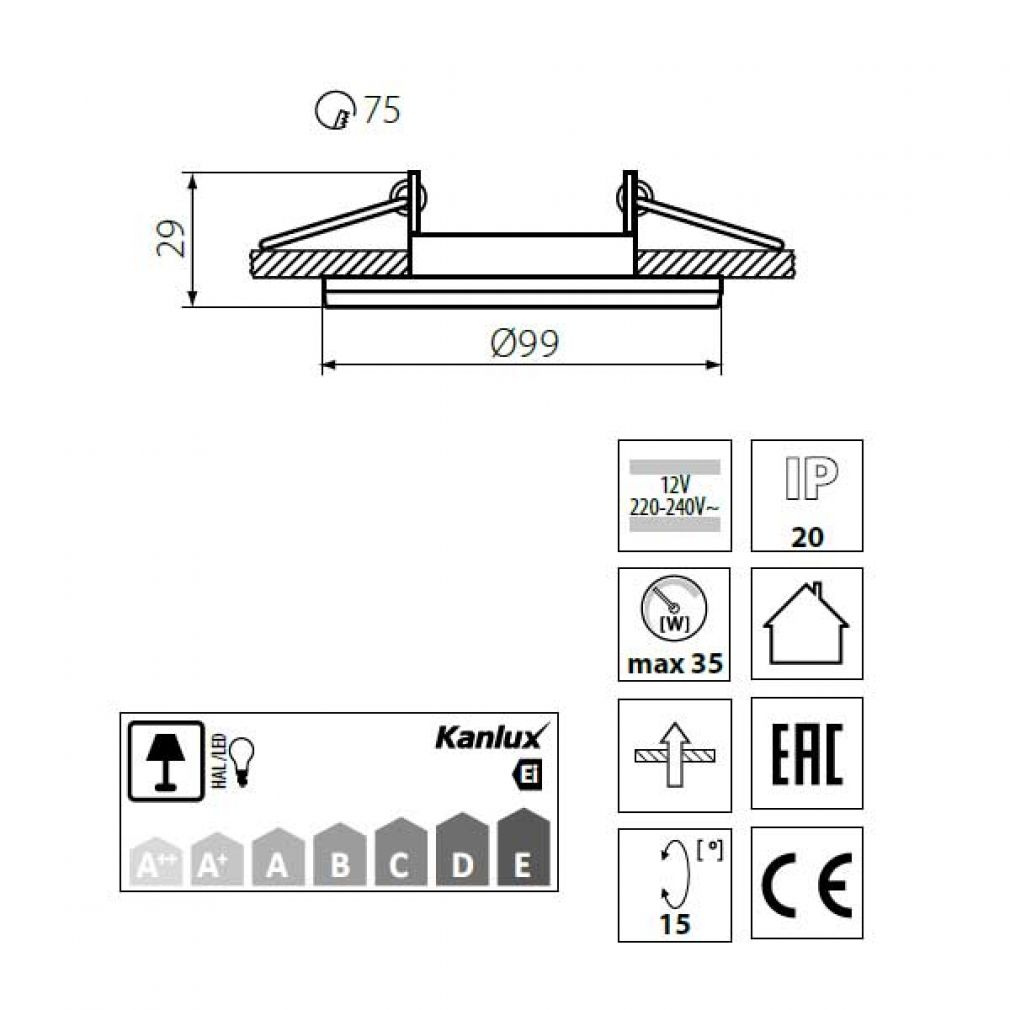 Halogen/LED Einbaurahmen MR-16, GU10 Gx5,3 - schwarz Einbauspot, Einbaustrahler - 4