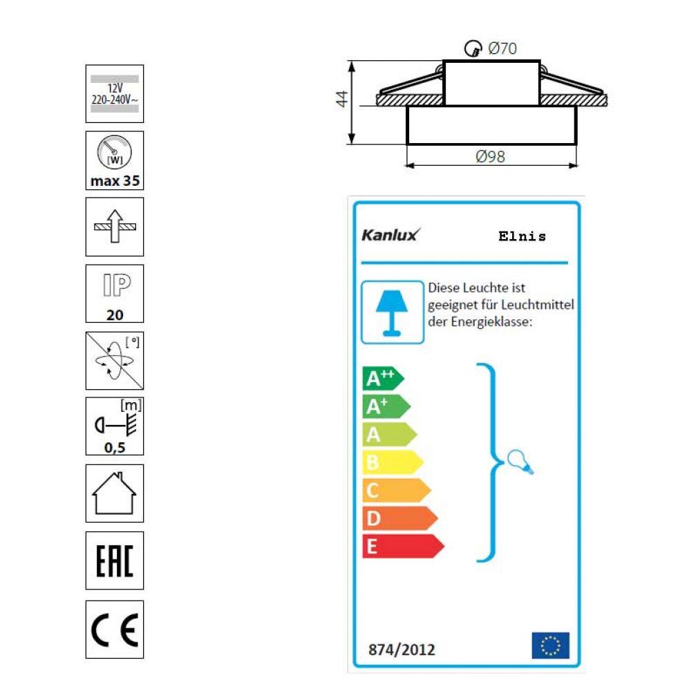 Einbaustrahler Elnis-S Deckeneinbau Leuchte Lampe Einbau-Downlight anthrazit chrome - 4