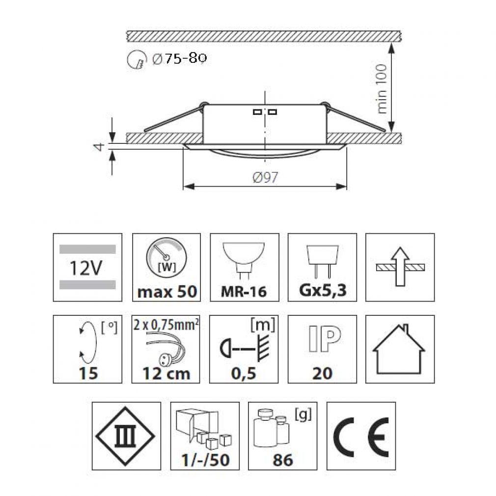 Halogen/LED Einbaurahmen MR-16, GU10 Gx5,3 - weiss Einbauspot, Einbaustrahler - 3