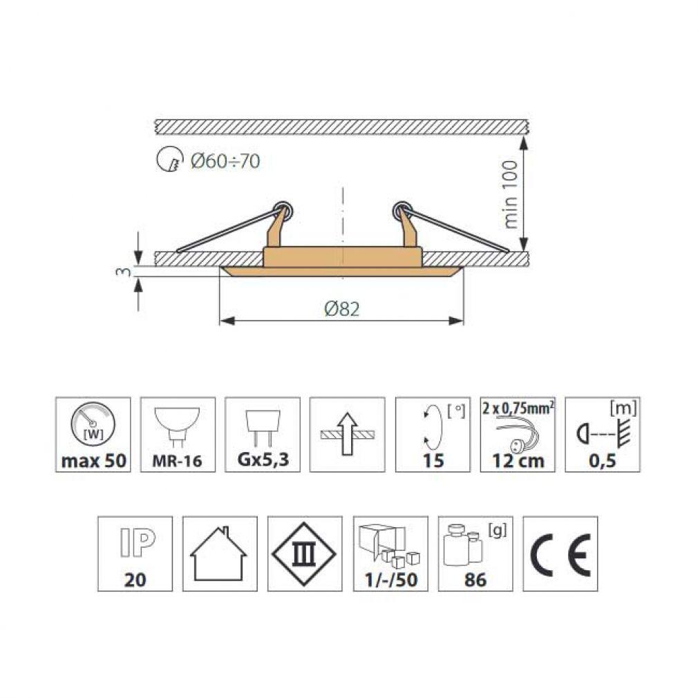 LED Halogen Einbaurahmen MR16, GU10 Gx5,3 antik Kupfer Einbauspot, Einbaustrahler - 3