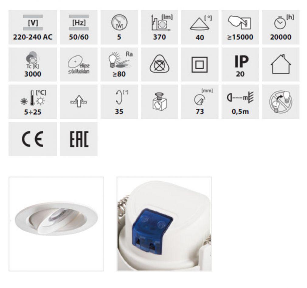 LED Decken-Einbauleuchte rund Spot Einbaulampe weiss - 2