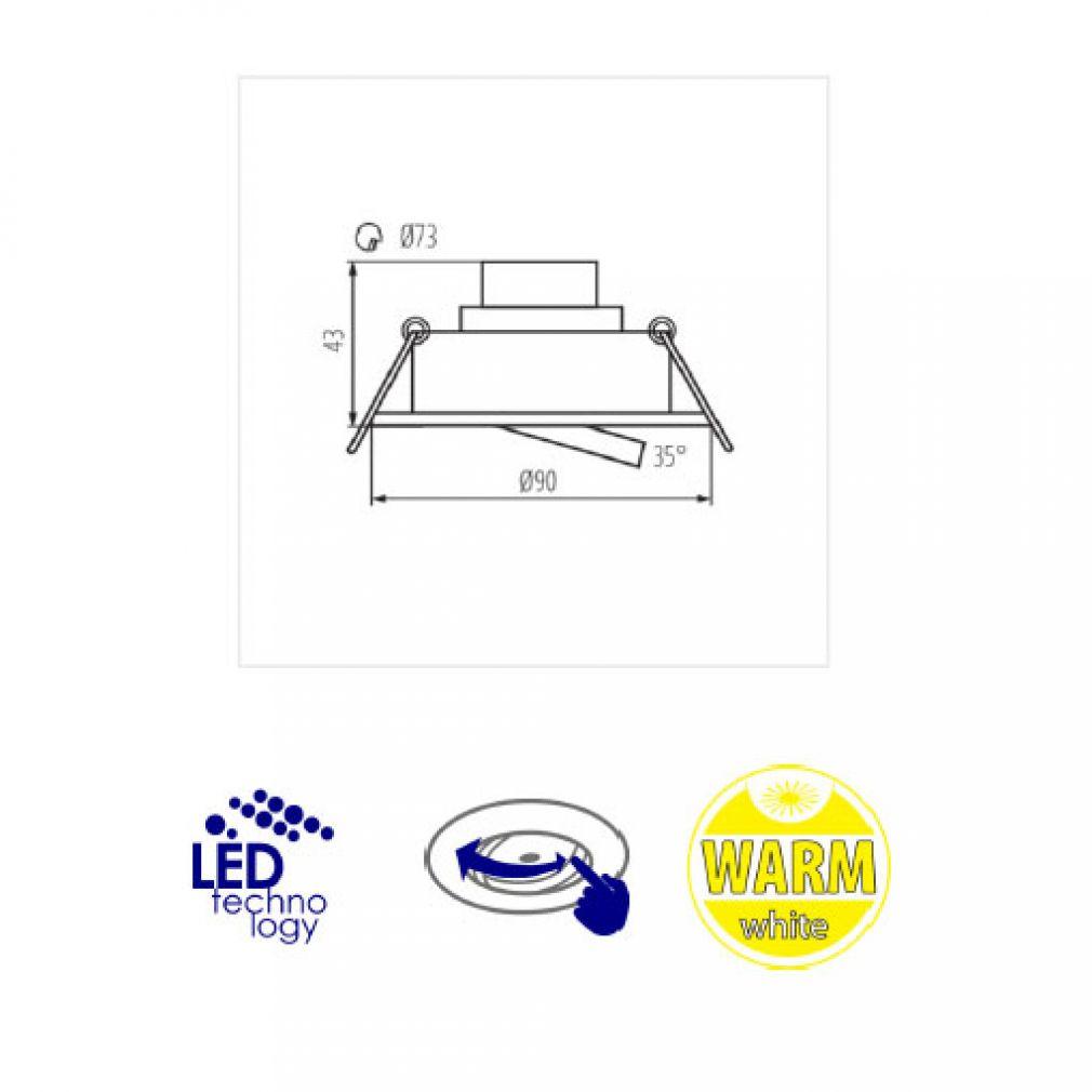 LED Decken-Einbauleuchte rund Spot Einbaulampe weiss - 3