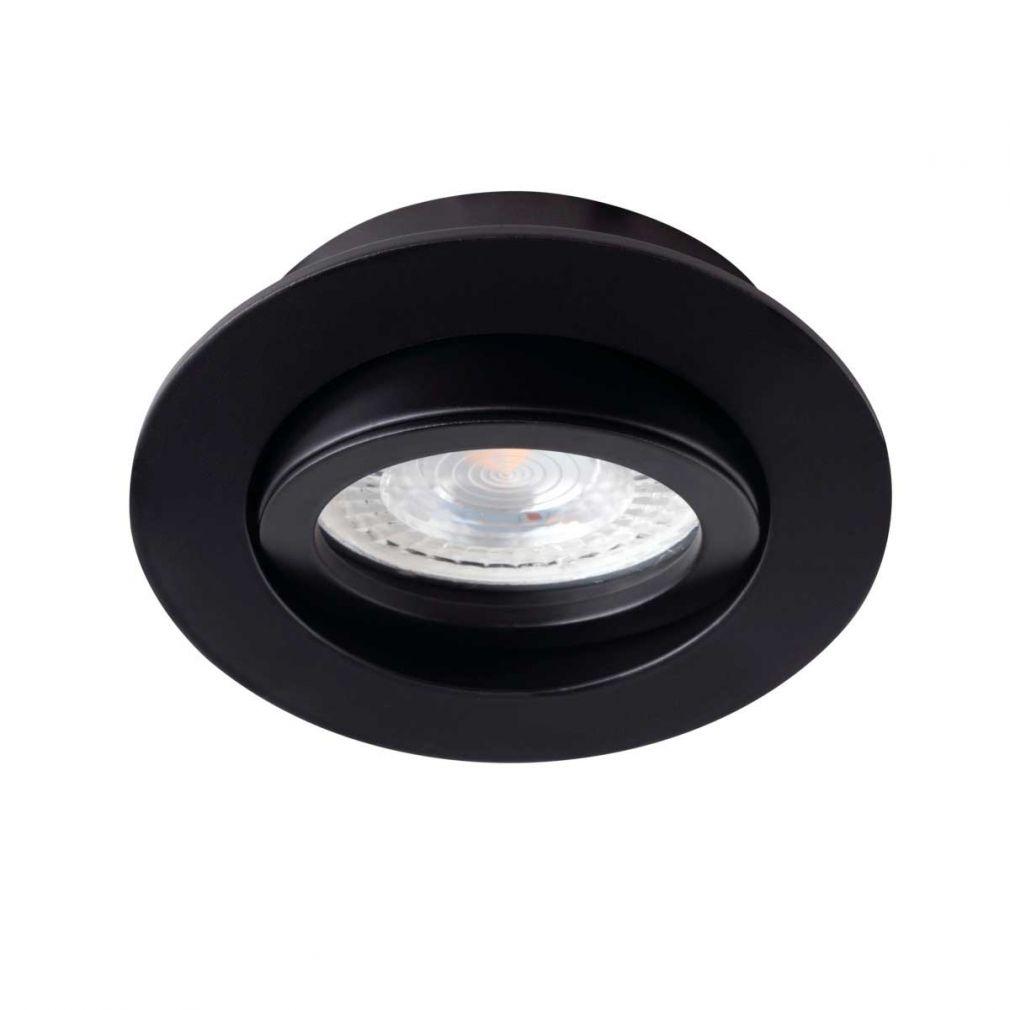 Deckeneinbaustrahler rund, schwarz, für LED / Halogenlampen Sockel GX5.3 - 2