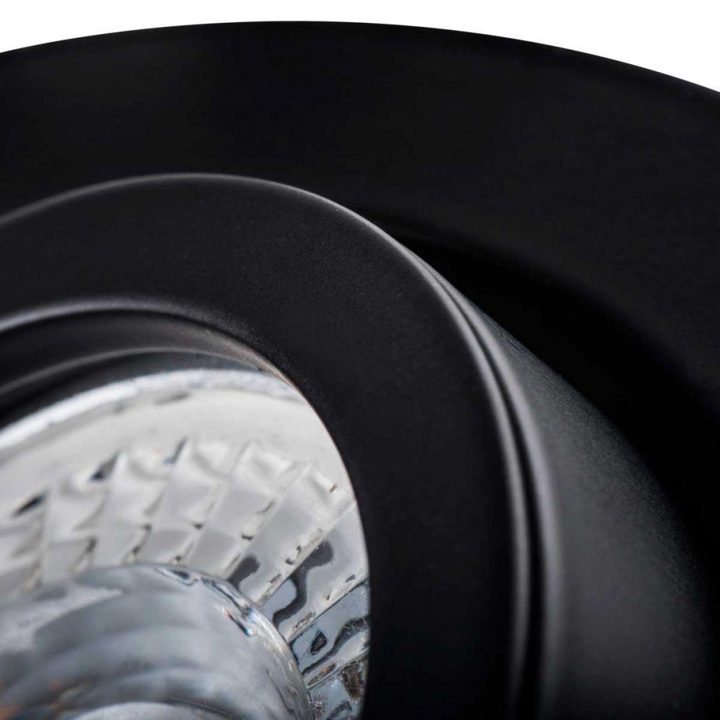 Deckeneinbaustrahler rund, schwarz, für LED / Halogenlampen Sockel GX5.3 - 3