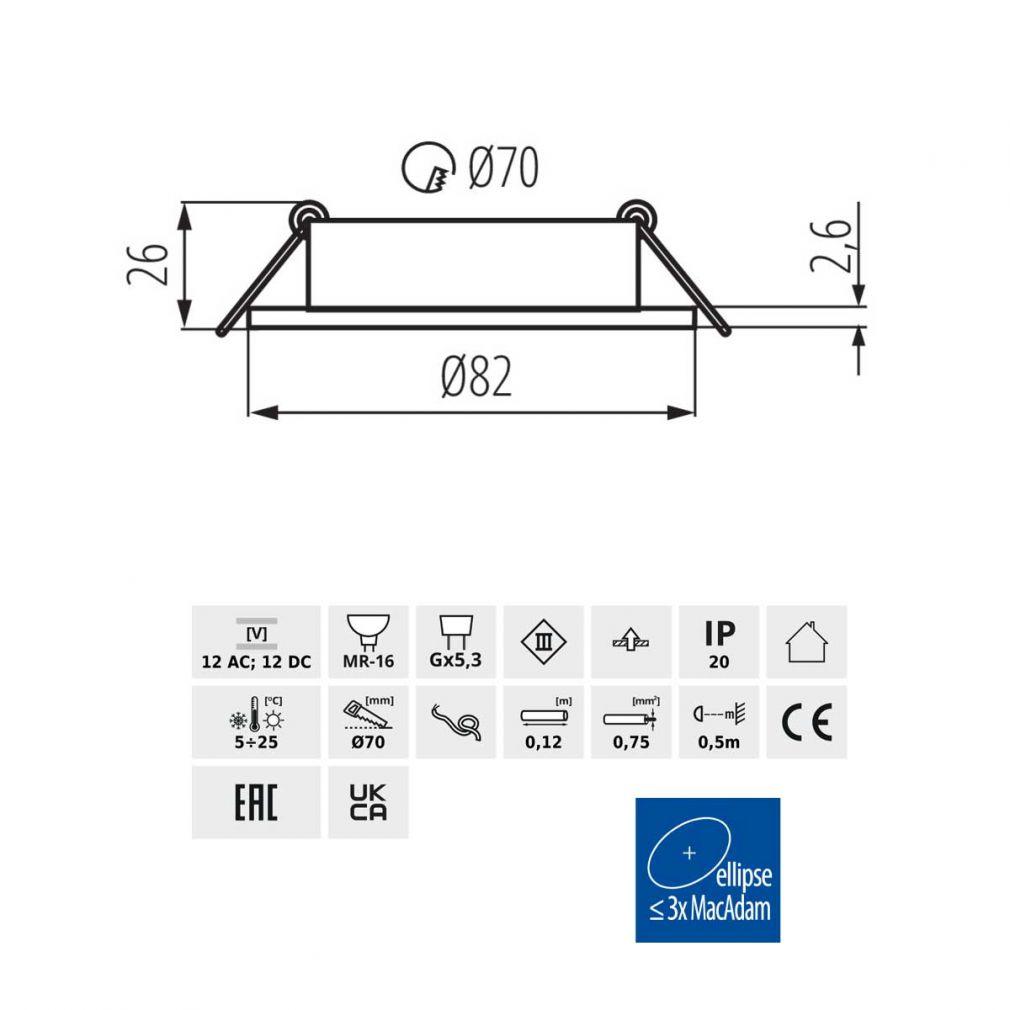 Deckeneinbaustrahler rund, schwarz, für LED / Halogenlampen Sockel GX5.3 - 4