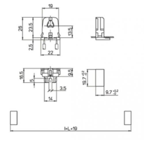 2x Durchsteckfassung, Halterung für T5 Leuchtstoffröhren - 3