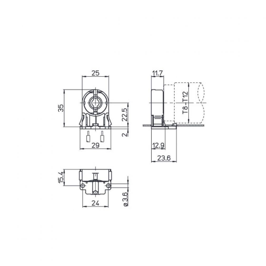 Durchsteck - Fassung G13 für T8 d=26mm Leuchtstofftöhre - 3