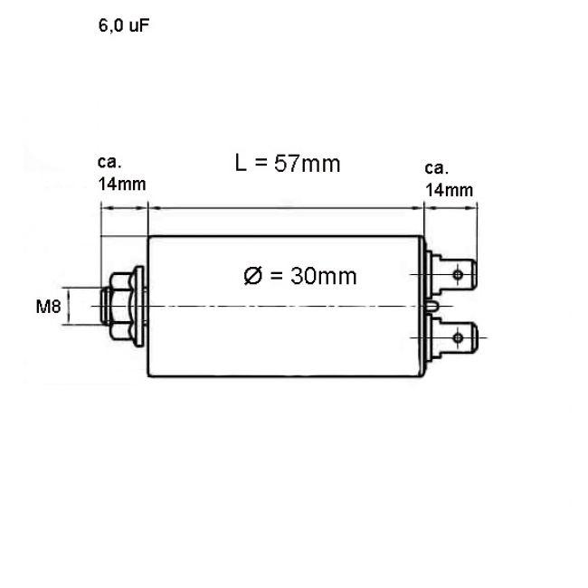 6.0 uF Betriebskondensator Motorkondensator 6 mF / 450 V - 2