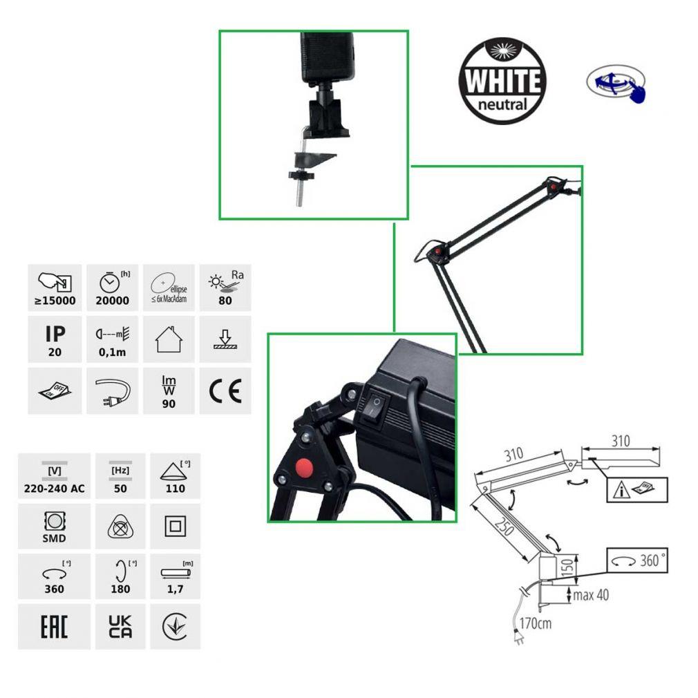 LED Schreibtischlampe, Klemmleuchte, Büroleuchte, schwenkbar, weiß - 2