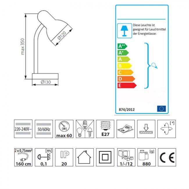 Schreibtischleuchte, Schreibtischlampe, flexibler Lampenhals, Farbe schwarz, E27 - 5